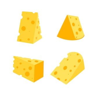 Eine reihe von käsescheibenkäse in verschiedenen formen milchprodukte-vektor-illustration