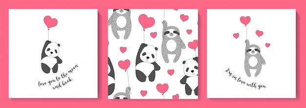 Eine reihe von karten mit faultier und panda