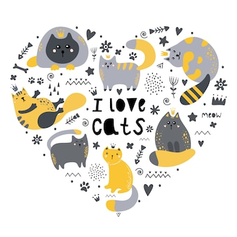 Eine reihe von katzen in form eines herzens. ich liebe katzen.