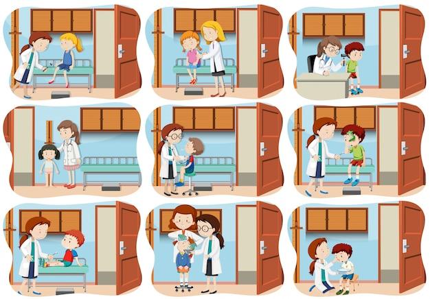 Eine reihe von kindern gesundheitswesen