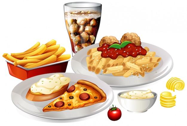 Eine reihe von köstlichen speisen
