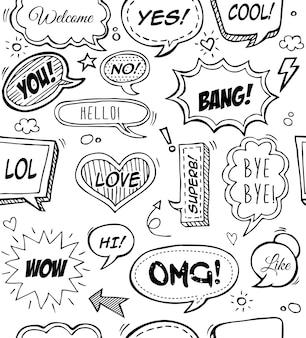 Eine reihe von komischen sprechblasen und elementen