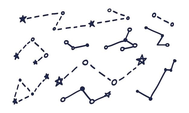 Eine reihe von konstellationen im doodle-stil. grafiken von raumthemen mit sternbildern und sternen, die in der sammlung gesammelt und von hand gezeichnet werden