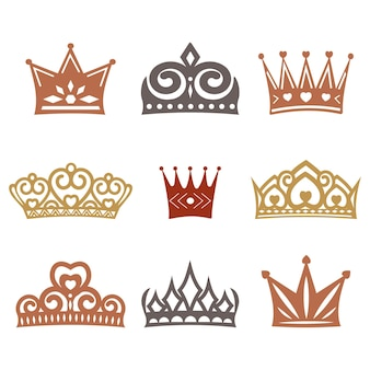Eine reihe von kronen mit verschiedenen ornamenten, vektorillustration.