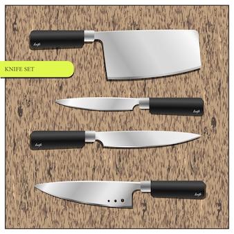 Eine reihe von küchenmessern