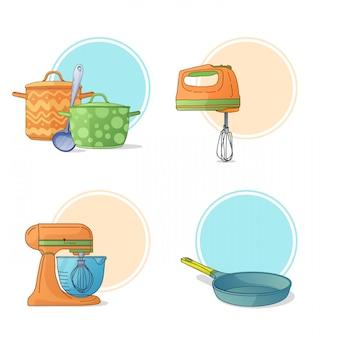 Eine reihe von küchenutensilien im cartoon-stil. küchengeräte und kochgeräte zum kochen.