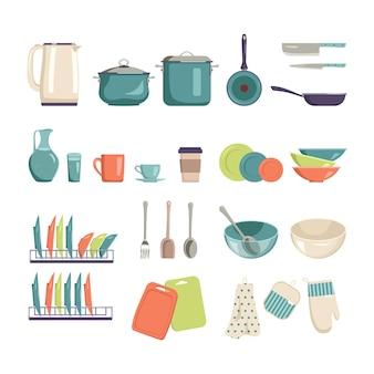 Eine reihe von küchenutensilien zum kochen und essen. helle und stilvolle artikel für zuhause, café oder restaurant