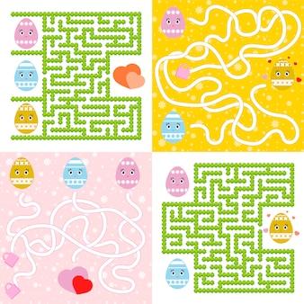 Eine reihe von labyrinthen. cartoon-stil. visuelle arbeitsblätter. aktivitätsseite.