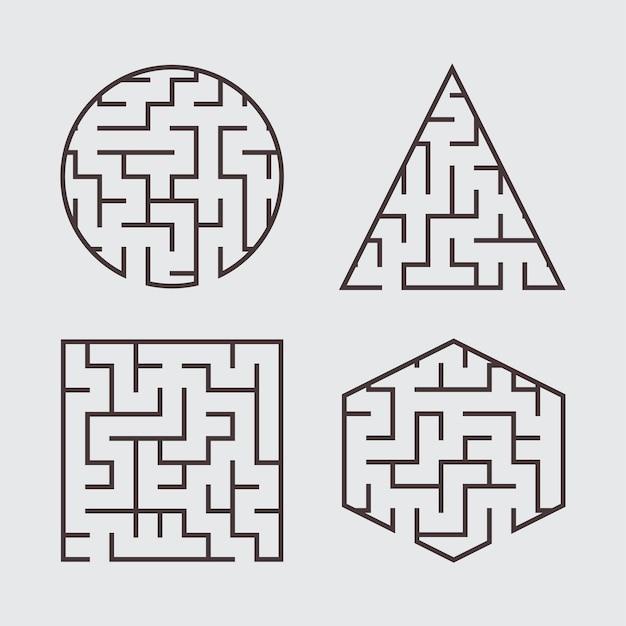 Eine reihe von labyrinthen für kinder. ein quadrat, ein kreis, ein sechseck, ein dreieck.