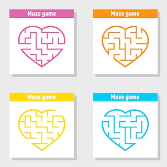 Eine reihe von labyrinthen. spiel für kinder. puzzle für kinder. labyrinth rätsel.