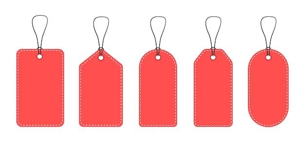 Eine reihe von leeren preisschildern. rote preisschilder.