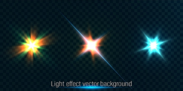 Eine reihe von lichteffekten für illustrationen und hintergründe