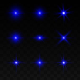 Eine reihe von lichteffekten, lichtern und funken.