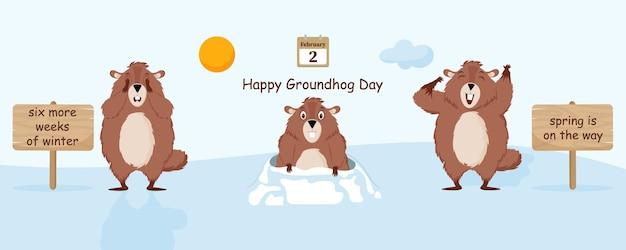 Eine reihe von lustigen cartoon-murmeltieren. vektorillustration des murmeltier-tagesfeiertags.