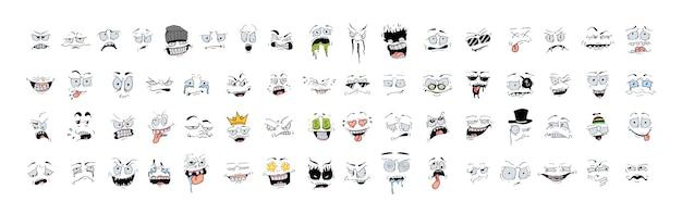 Eine reihe von lustigen gruseligen verrückten hässlichen emoticons