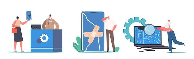 Eine reihe von männlichen und weiblichen charakteren bringen kaputte geräte zum reparieren im speziellen reparaturservice. winzige leute mit riesigen rissigen smartphone und laptop, isolated on white background. cartoon-vektor-illustration