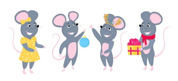 Eine reihe von mäusen. kleine maus mit geschenk. ratten-zeichentrickfiguren.