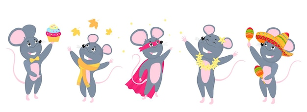 Eine reihe von mäusen. kleine maus. ratten in sombrero mit maracas, in einem schal. superheld.