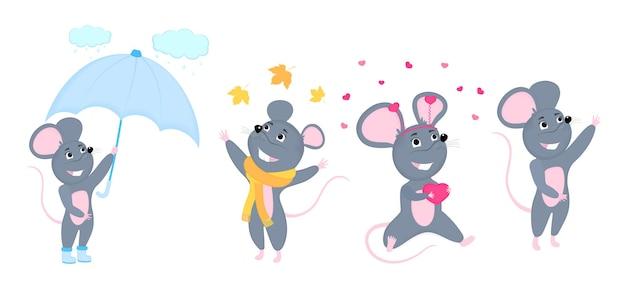 Eine reihe von mäusen. kleine maus. ratten mit regenschirm, in einem schal, mit einem herzförmigen geschenk zum valentinstag.