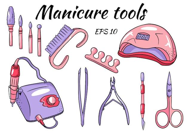 Eine reihe von maniküre-werkzeugen. werkzeuge für hardware-maniküre und pediküre.