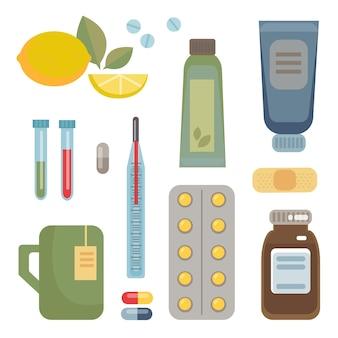 Eine reihe von medikamenten, tabletten, tränken, vitaminbällchen und möglichkeiten zur bekämpfung von erkältungen und krankheiten