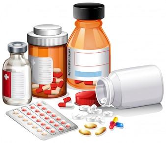 Eine Reihe von Medizin und Rezept