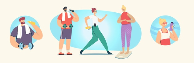 Eine reihe von menschen, die sport, training, training, sportaktivitäten, männliche und weibliche charaktere im sportbekleidungstraining mit gewicht und hanteln, gesundem leben, training im fitnessstudio machen. cartoon-vektor-illustration