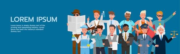 Eine reihe von menschen gruppieren verschiedene jobs und berufe auf blauem hintergrundcharakter-vektordesign. tag der arbeit. Premium Vektoren