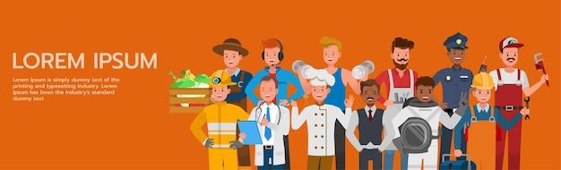 Eine reihe von menschen gruppieren verschiedene jobs und berufe auf orangefarbenem hintergrundcharakter-vektordesign. tag der arbeit.