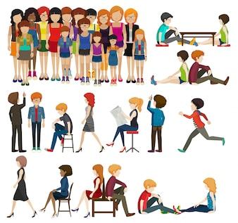 Eine Reihe von Menschen und Aktivitäten