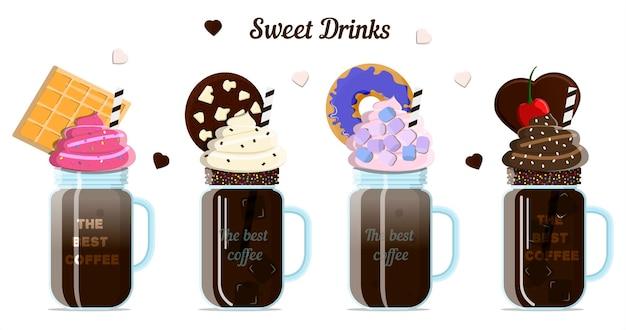Eine reihe von milch- und kaffeecocktails mit toppings sahne-schlagsahne-kekse und marshmallows