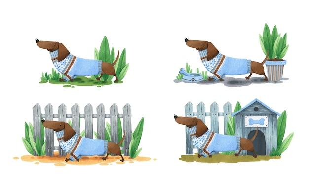 Eine reihe von mini-illustrationen mit einem dackel.