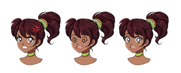 Eine reihe von niedlichen anime-mädchen mit verschiedenen ausdrücken. dunkles haar, große schwarze augen.