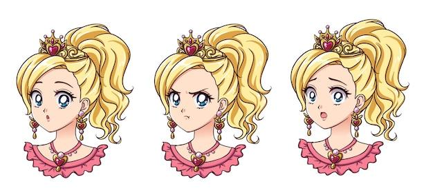 Eine reihe von niedlichen anime-prinzessin mit verschiedenen ausdrücken. blonde haare, große blaue augen.