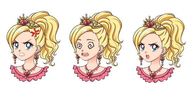 Eine reihe von niedlichen anime-prinzessin mit verschiedenen ausdrücken. blondes haar, große blaue augen, goldene krone.
