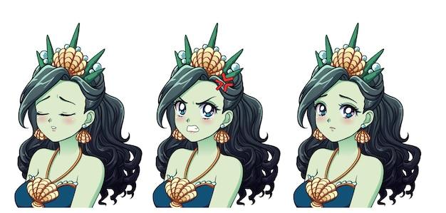 Eine reihe von niedlichen anime seeprinzessin mit verschiedenen ausdrücken. grünes haar, große blaue augen, muschelkrone.