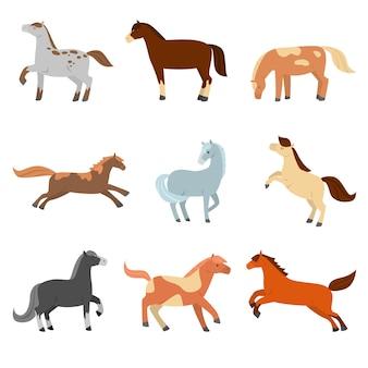 Eine reihe von niedlichen cartoonpferden verschiedener konfiguration, farbe und farbe.