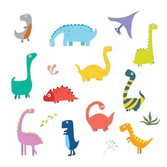 Eine reihe von niedlichen dinosaurier-charakteren für kinderdesign vektor-illustration