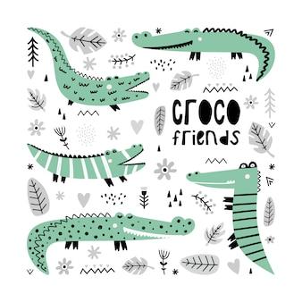 Eine reihe von niedlichen krokodilen