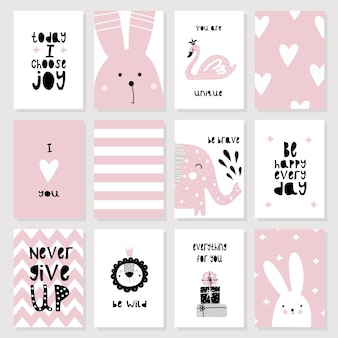 Eine reihe von niedlichen rosa karten und poster mit tieren