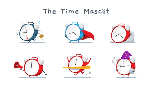 Eine reihe von niedlichen time mascot. vektor-illustration