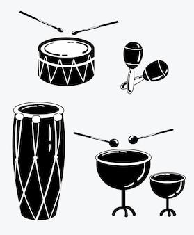 Eine reihe von percussion-musikinstrumenten. sammlung musikalischer trommeln.