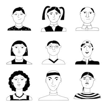 Eine reihe von porträts von menschen. lustige minimalistische weibliche und männliche charaktere.