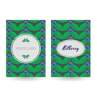 Eine reihe von postkarten, postern, banner. blaue waldwaldsommerbeere
