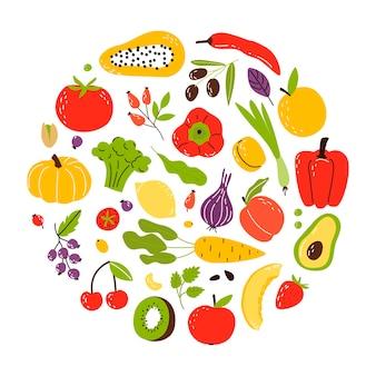 Eine reihe von produkten in einem kreis, gesunde lebensmittel. obst, gemüse und nüsse. cartoon flach