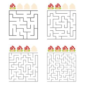 Eine reihe von quadratischen labyrinthen arbeitsblatt für kinder
