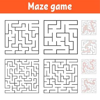 Eine reihe von quadratischen labyrinthen mit verschiedenen schwierigkeitsgraden
