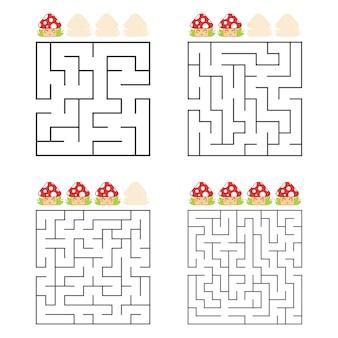 Eine reihe von quadratischen labyrinthen. vier schwierigkeitsgrade. süße pilze.
