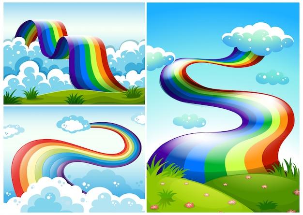 Eine reihe von rainbow road