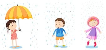 Eine Reihe von Regenschutz